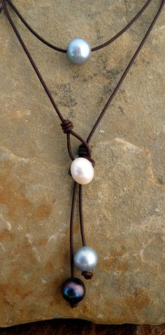 Items similar to Layered Leather and Pearl Necklace on Etsy