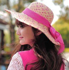 Fascinator UV ladies raffia floppy sun hat ribbon bow design
