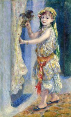 """Pierre Auguste Renoir, """"L'Enfant à l'oiseau"""" (Mlle Fleury en costume algérien), 1882"""
