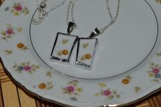 Two Recycled China Necklace Set Floral Design Mom Daughter, Cousins, Friends   #Unknown #Floral