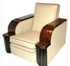 Art Deco white leather chair with wooden armrests