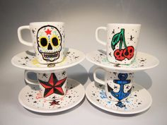 Hand painted coffee cups Rockabilly  Rock and roll by EnukaCustom, $50.00