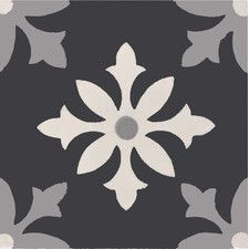 "Azrou 8"" x 8"" Handmade Cement Tile in Black, White and Gray"