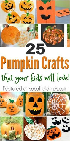 Are you a teacher or daycare provider looking for an easy pumpkin craft for kids? Here are 25 Pumpkin Crafts For Kids for Halloween! Halloween Activities For Kids, Fall Crafts For Kids, Halloween Crafts For Kids, Toddler Crafts, Projects For Kids, Halloween Fun, Holiday Crafts, Fun Crafts, Art For Kids