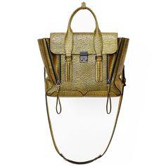 3.1 Phillip Lim Pashli Black Yellow Gold Medium Satchel Bag