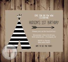 TEEPEE Birthday Invitation Striped teepee birthday von T3DesignsCo