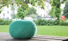 DIY knitted puff for kids room