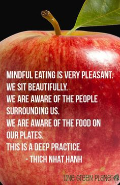 Mindful eating is very pleasant - Thich Nhat Hanh Yoga Mantras, Meditation Quotes, Think Food, Food For Thought, Health And Wellness, Health Fitness, Mudras, Thich Nhat Hanh, Eating Disorder Recovery