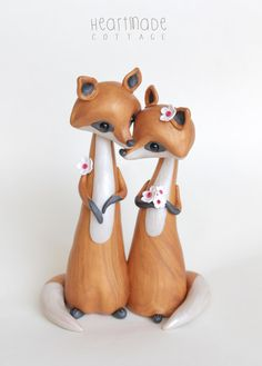 Fox Wedding Cake Topper ready to ship animal by HeartmadeCottage