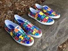 Autism awareness puzzle piece shoes in progress. Erinbearin @ Etsy
