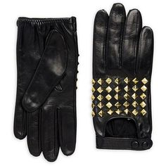 Portolano Stud Leather Gloves ($250) ❤ liked on Polyvore featuring accessories, gloves, portolano gloves, real leather gloves, cold weather gloves, leather gloves and studded leather gloves