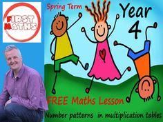 YouTube Number patterns  in multiplication tables - Year 4 Maths PowerPoint -  Spring Term Year 4 Maths, Maths Day, Teaching Packs, Teaching Math, Maths Working Wall, Powerpoint Lesson, Powerpoint Presentations, Spring Term, Math Work