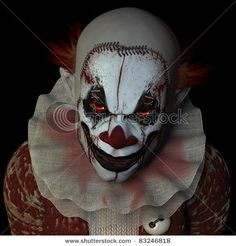 Scary clown glaring at you. Isolated on a black background. by Jeff Cameron Collingwood, via ShutterStock Halloween Clown, Gruseliger Clown, Halloween Karneval, Circus Clown, Halloween Horror, Halloween Makeup, Halloween Costumes, Clown Mask, Halloween Photos