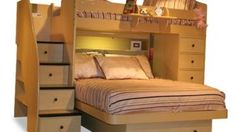 4.-Small-Knobs-on-Maple-Drawers-for-Unique-Oak-Full-Over-Full-Bunk-Beds-with-Brown-Bedding