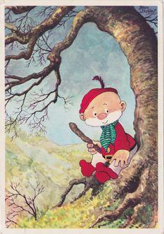 """Ansichtkaart Paulus de Boskabouter ca. 1965. Ach ja! Dát was """"het klokje van 7 uur """"en dan: ...luisteren naar de avonturen van Paulus!"""