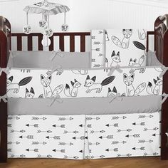 Arrow Print Fitted Crib Sheet for Black and White Fox Collection Baby/Toddler Bedding Set Collection . http://aluxurybed.com/product/arrow-print-fitted-crib-sheet-for-black-and-white-fox-collection-babytoddler-bedding-set-collection/