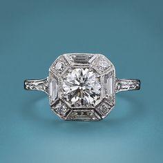 Art Deco 1.01 carat diamond engagement ring. Lang Antiques archives.