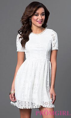 Short Ivory Lace Graduation Dress at PromGirl.com