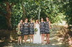 For the black tie wedding option. patterned bridesmaid dresses // photo by LoganColeblog.com