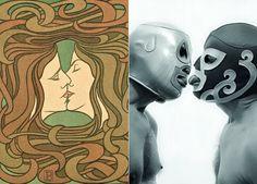 A la izquierda, 'The kiss' (1898), de Peter Behrens; a la derecha 'Wrestling (lucha)' (2008), fotografía de David Trullo. Obras expuesta en 'Queer Cabinet'. Museo de Artes Decorativas.