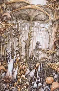 Magical, nature inspired illustrations by Adam Oehlers Adam Oehlers is an illustrator from Norwich, England. His magical, detailed drawings tell both known and unknown fantastic tales. Mushroom Art, Fairytale Art, Art And Illustration, Animal Illustrations, Illustrations Posters, Fairy Art, Psychedelic Art, Cute Art, Art Inspo