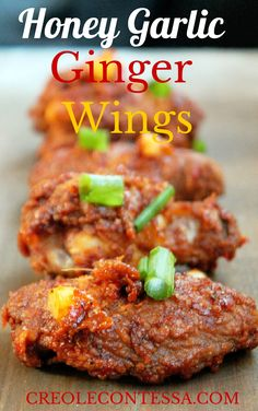 Honey Garlic Ginger Chicken Wings-Creole Contessa