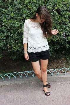 Lace, black and white.