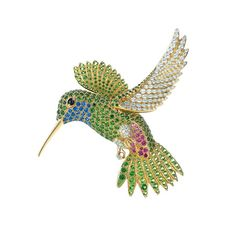Jean Schlumberger for Tiffany Hummingbird brooch with coloured gemstones and diamonds.