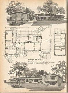 Vintage House Plans, Mid Century House Plans, Vintage Homes: