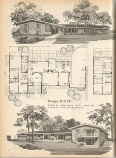 Vintage House Plans, Mid Century House Plans, Vintage Homes: