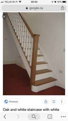 Oak and white staircase with white spindles. Would painting just the risers help as an update or would I have to do spindles too? White Stair Risers, Painted Stair Railings, White Banister, Stairs Balusters, Oak Handrail, Interior Stair Railing, White Staircase, Painted Staircases, Wood Staircase