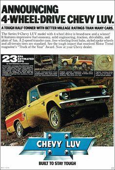 Items similar to 1979 Chevy Luv Pickup Truck Ad Chevrolet Drive Automobile Vintage Advertisement Photo Print Wall Art Decor on Etsy Mini Trucks, Gm Trucks, Cool Trucks, Pickup Trucks, Pick Up, Classic Trucks, Classic Cars, Classic Auto, Chevy Luv