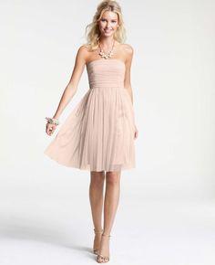 Point D'Esprit Strapless Bridesmaid Dress