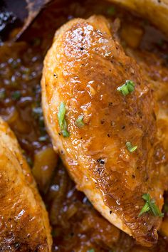 """Apricot-Pineapple """"Sticky"""" Chicken Recipe ~ Over Toasted-Green Onion Rice {Recipe}"""