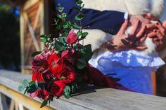 Passion bridal bouquet of Marsala color. Composed of roses `rеd piano`, buttercups, Bruno berries, eucalyptus and cymbidium.  Страстный свадебный букет цвета марсала. В составе розы`rеd piano` , лютики, ягоды брунии, эвкалипт и цимбидиум