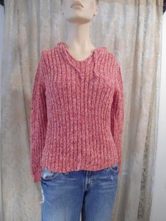 Hooded Sweater Size Large Red Vintage 70s 80s by LandofBridget
