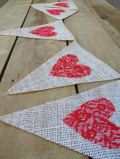 Valentine's Day Burlap & Lace Banner by nhayesdesigns, $26.00. Could be DIYed.