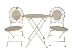 Three Piece Outdoor Bistro Set With A Floral Backed Design