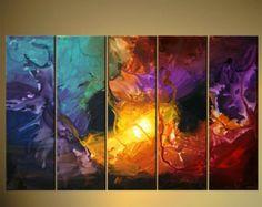Moderne 60 x 36 Original abstrakte Malerei Acryl texturiert