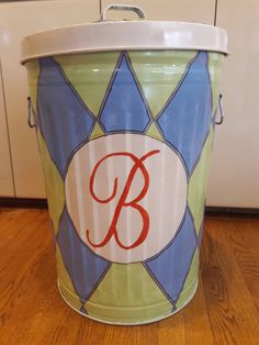 Decorative Hand Painted Personalized/Monogrammed 20 Gallon Galvanized Metal Trash/Garbage/Storage  Can w/Side Handles and Tight Fit Lid by krystasinthepointe on Etsy