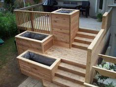 Wooden Deck with plant boxes