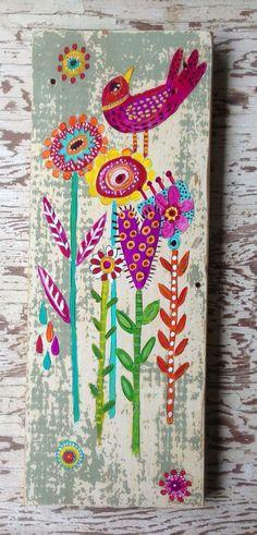 Original Bird Painting on Rustic Wood by evesjulia12 on Etsy
