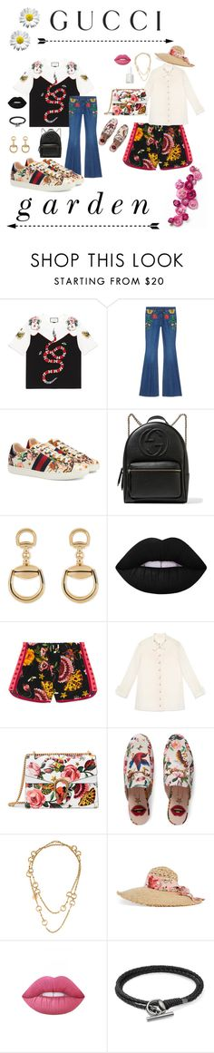 """""""Presenting the Gucci Garden Exclusive Collection: Contest Entry"""" by ignescxnce ❤ liked on Polyvore featuring Gucci, Lime Crime, Essie and gucci"""