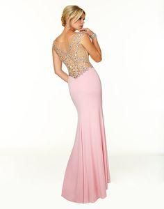 V-neck Long Chiffon Pink Luxury Beadings Crystals Mermaid Prom Dresses Evening