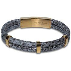 Marlín Birna - Atlantic Salmon Leather Bracelet Double Cord Grey &... ($150)…