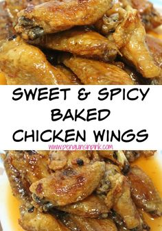 Sweet and Spicy Baked Chicken Wings - Honey and habanero hot sauce ...