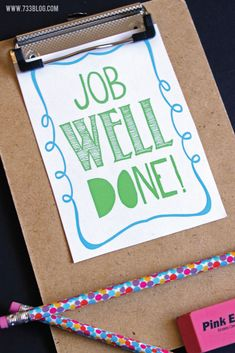 Job Well Done - Free Printable Positive Reinforcement Cards great for the classroom and at home!