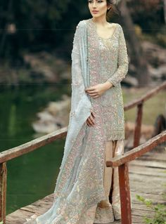 Sara naqvi dress - Pakistan.                                                                                                                                                                                 More Pakistani Party Wear, Pakistani Wedding Dresses, Blue Wedding Dresses, Pakistani Outfits, Wedding Wear, Indian Outfits, Formal Wear Women, Anarkali Dress, Indian Designer Wear