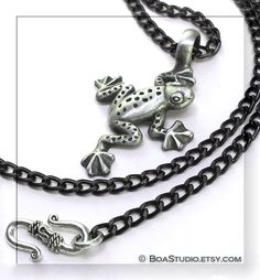 Frog Necklace - Woodland Pewter Frog Pendant with Black Chain. $20.00, via Etsy.
