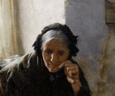 During this period, Langley painted the present lot and a similar watercolour depicting an old lady within a dark interior, her head resting on her hand in contemplation. Description from bonhams.com. I searched for this on bing.com/images
